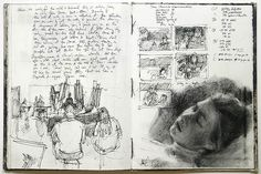 This may not be a preparatory study per se, but it's a good process photo. The sketch at bottom left shows this was done in a classroom; there are thumbnails top right, and a lovely head study below.