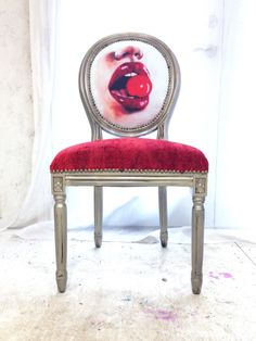 Cherry Velvet French Louis XVI Upholstered Accent Chair in by Heather Rudd THRONEupholstery