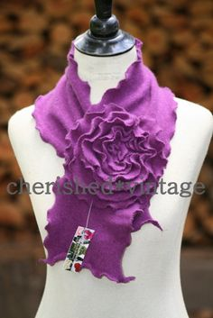 Scarf from recycled cashmere sweater.