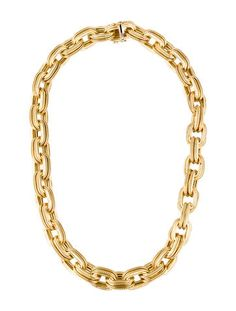 18K Gold Textured Oval Link Necklace