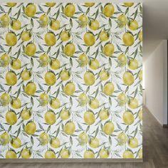 "Life of Lemons Removable 8' x 20"" Floral Wallpaper"