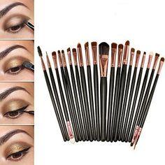 20 pezzi set di pennelli professionali per il make up fondotinta, ombretto, eyeliner, labbra, colore: caffè