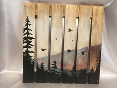 Birds in Flight Pallet Board Painting Silhouette Gift Idea Gift 4 Him/Her Hand Painted Wood Canvas Oil Painting Home Decor Wall Art Pallet Wall Art, Pallet Painting, Painting On Wood, Wood Burning Crafts, Wood Burning Art, Wood Crafts, Diy Crafts, Diy Canvas Art, Wood Canvas