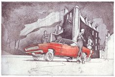 """Martin Karcher: """"Glitterboys 05 (Charger)""""; Etching, 2-color-print, 30 x 20 cm, 2017"""
