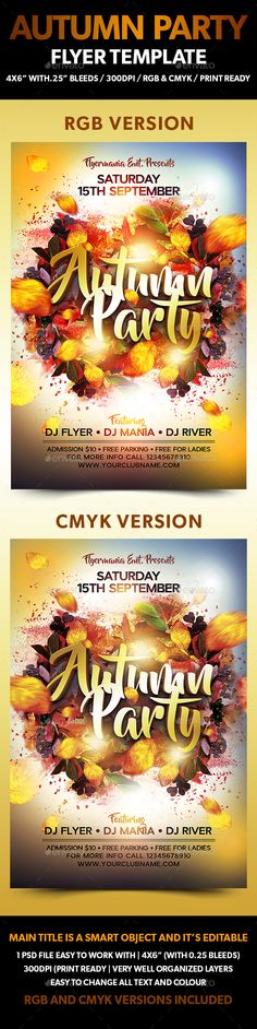 Autumn Party Flyer Template  — PSD Template #autumn • Click here to download…