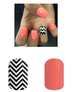 Get this look with Jamberry Grapefruit and Black & White Chevron