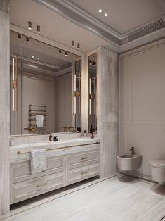 Bathroom Basin Cabinet, Bathroom Toilets, Laundry In Bathroom, Bathroom Design Luxury, Modern Bathroom, Small Bathroom, Mansion Bathrooms, Parisian Bedroom, Apartment Projects