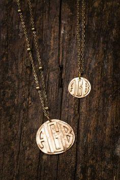 Bronze Monogrammed Necklaces