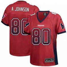 Nike Houston Texans #80 Andre Johnson Elite Red Drift Women NFL Stitched Jersey