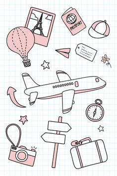 Hand drawn travel element vector set free image by marinemynt 679199187535615701 # Bullet Journal Banner, Bullet Journal Notebook, Bullet Journal Ideas Pages, Bullet Journal Inspiration, Bullet Journal Travel, Mini Drawings, Cute Easy Drawings, Doodle Drawings, Travel Doodles