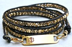 Prettiest medical ID bracelet I've ever seen. Hope Medical Alert Gold Wrap Custom Engraved Bracelet
