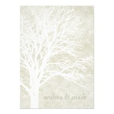 CLICK ON THE LARGER IMAGE TO SEE PRICING AND PURCHASING INFORMATION ... Cream Tree Silhouette winter Wedding Invitations