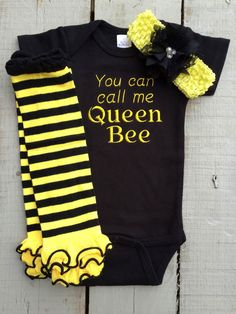 A personal favorite from my Etsy shop https://www.etsy.com/listing/221108774/queen-onesie-bumblebee-you-can-call-me