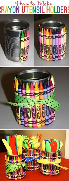 These crayon utensil holders are such a great idea for a back to school party.