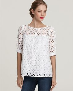 Milly Top Keyhole Eyelet in White