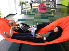 I've been saying for years that our office needs a hammock... And look, it's been done. I wanna go work THERE.: (Tech Office Space)