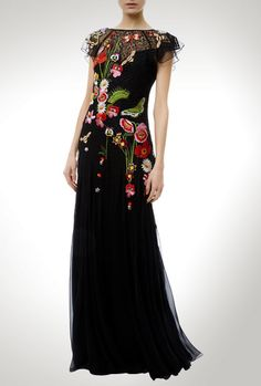 Aura embroidered floral black dress by Temperley London, fit for a formal event or ceremony. Temperley, Beautiful Gowns, Madrid, London, Formal Dresses, Fit, Floral, Black, Fashion