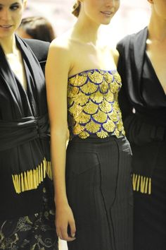 Altuzarra S/S 2013. Blue and gold sequined scalloped top.