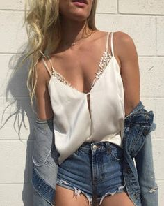 satin cami + lace bralette + denim on denim outfit Mode Outfits, Casual Outfits, Fashion Outfits, Fashion Trends, Denim Outfits, Look Fashion, Street Fashion, Daily Fashion, Spring Summer Fashion