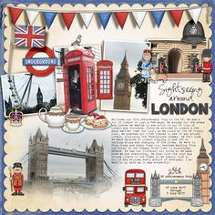 Free Digital Scrapbook Template: Spotty Dotty Template London scrapbook page created with digital scrapbooking kits and this month's free template from Kate Hadfield - layout by Creative Team member Christa Free Digital Scrapbooking, Digital Scrapbook Paper, Scrapbook Templates, Scrapbook Page Layouts, Scrapbooking Ideas, Heritage Scrapbooking, Scrapbook Titles, Scrapbook Kit, Photo Layouts