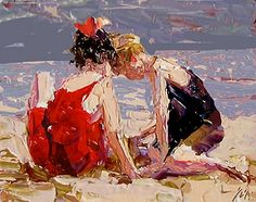 Escena de la playa después de que Edward Henry Potthast - a Sally Cummings Shisler