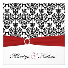 Spring Wedding Invitations Red, White, and Black Damask Wedding Invitation