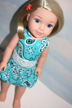 Four Season Skirt free pattern by Oh Sew Kat.  14.5 Inch Doll like Wellie Wishers Aqua Bandana by SewLikeBetty #ohsewkat #welliewishers