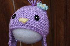 Chick-a-dee/Chickie/Bird/Crocheted Baby Girls Hat. $18.00, via Etsy.