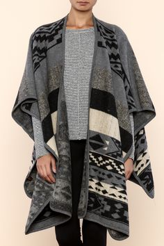 Perfect layering piece for chilly days and night. Aztec inspired poncho with an open front and 3/4 sleeves.    Aztec Poncho by la di da dee. Clothing - Sweaters - Ponchos & Capes Williamsburg, Brooklyn, New York City