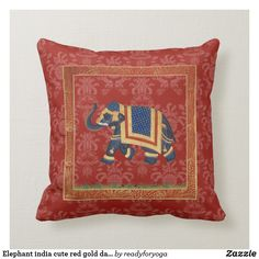 Elephant india cute red gold damask Pillow