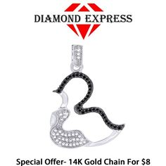 """1/10 Ct Round Brilliant Cut 14K Gold Mom & Baby Duck Pendant Without Chain """"Mother\'s Day Gift"""". Starting at $1"""