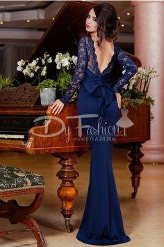 rochie sirena albastra - rochii de seara lungi Formal Wear, Formal Dresses, Dark Blue, Mermaid, Fancy, Womens Fashion, How To Wear, Dressmaking, Embroidery