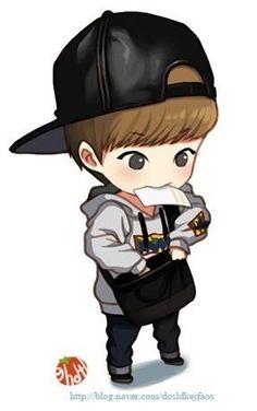 Xiumin of Exo ♥ Anime Chibi, Exo Anime, Bts Chibi, Kpop Exo, Exo Xiumin, Kpop Fanart, Exo Fan Art, Xiuchen, Dibujos Cute
