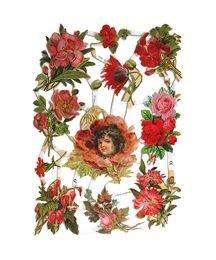 Pretty Red Flowers Scraps ~ Germany