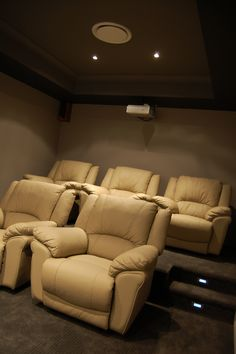 Home Theatre for a Smaller Room - Nice colour pallet.