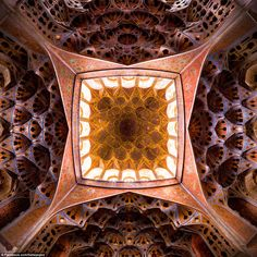 Ganji photographed the plaster ceiling of the music room in Ali Qapu Palace, located in Na...