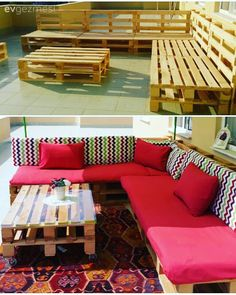 This terrace is now chirping with a seating group made of pallets. Outdoor Sectional Sofa, Diy Outdoor Seating, Sofa Furniture, Cushions On Sofa, Pallet House, Outdoor Sofa Cushions, Home Decor, Colourful Cushions, Home Design Magazines