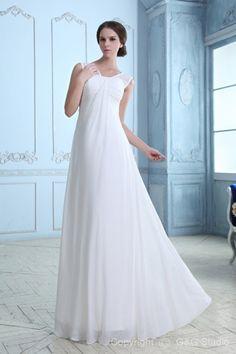Sleeveless Natural Chiffon Zipper Bow Elegant A-line straps White Floor-length Wedding Dress