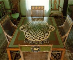 artists Duncan Grant  and Vanessa Bell   - table & chairs -
