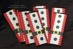 Dimensions for these:        Red Cardstock: 5 1/2″ x 6″      White Cardstock: 2″ x 5 1/2″ (punch each side with Stampin Up Scallop Border Punch)      Black Belt: 5/8″ x 6″      Buttons: 1/2″ circle punch      Buckle: cut from the Cricut Paper Doll dressup cartridge. Click here for more info on that.