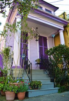 Trendy Exterior Paint Colors For House Bright Curb Appeal Ideas Exterior Paint Colors For House, Paint Colors For Home, Exterior Colors, Paint Colours, New Orleans Architecture, Window Shutters Exterior, Shutter Colors, Shotgun House, New Orleans Homes