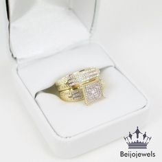 2.10CT Round Cut Diamond Engagement Bridal Ring Wedding Band Set 14K Yellow Gold #beijojewels