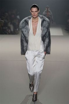 Alexander Wang Fur Coat Over White Low Cut Blouse - Runway Fall Fashion Trends 2013 - Harper's BAZAAR