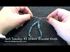http://www.how-to-make-jewelry.com Make a stretch bracelet with that slippery ol stretch cord --and have the knot stay.  No coming undone, no coming apart.  This technique makes the knot slip-proof.  Ill also show you two ways to hide that knot.  You can do it @Paice Adams !!!