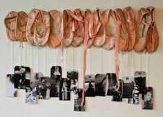 This is such a cute idea.  Save a pair of ballet slippers from each year of your child dancing.  Hang a picture of her dancing each year from the ballet slipper.   A pointe shoe ribbon would be pretty for this.  The slippers can be attached to a thin strip of wood with hot glue.  Add a picture hanger to the back.