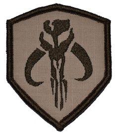 Amazon.com: Mandalorian Bantha Skull Mercenary 3x2.5 Shield Military Patch / Morale Patch - Desert Sand: Home & Kitchen