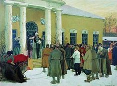 A 1907 painting by Boris Kustodiev depicting the muzhiks listening to the proclamation of the Emancipation Manifesto in 1861