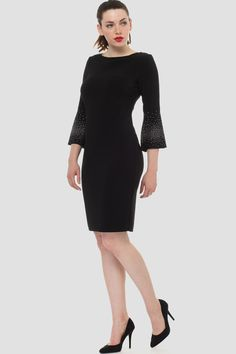 Featuring knee-length hem, bateau neckline and three-quarter length bell sleeves, Joseph Ribkoff's sheath dress has gradient-look silver spangles across the cuffs and slight tailoring through the natural waist. Bell Sleeve Dress, Bell Sleeves, Joseph Ribkoff Dresses, Monday Dress, Short Dresses, Dresses For Work, Sequin Dress, Sheath Dress, Fashion Dresses