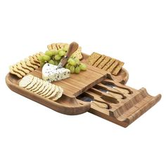Cheese Board Set Bamboo Board Picnik With Cracker Rim With Stainless Steel Tools #1