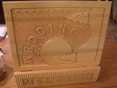 WOODEN WEDDING MEMORY BOX - DETAILED CARVED BOOK SHAPED BOX #NONE